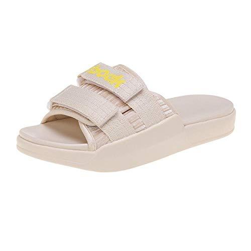 RSVT Zapatos de Playa Piscina Unisex Adulto,Zapatillas de Velcro de Suela Gruesa de bizcocho, Sandalias Planas Deportivas-Beige_39,Zapatillas de Ducha para el hogar