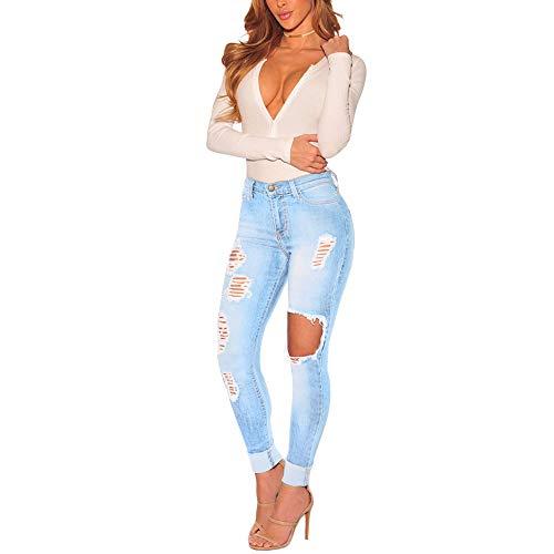 Yanhoo Damen Jeanshosen, Hot Damen Hose mit hohem Bund Stretch Schlauch Leggings Skinny Slim Hollow Pants Hose Damen Mode lässig eng hohe Taille hohe elastische Knopflochhose