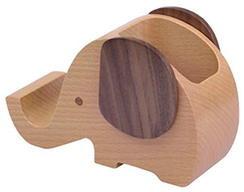 【ヘルスリーフ】 木製無垢ペンスタンド ペン入れ 天然木 天然杢 ペン立て ウォールナット & ブナ材 鉛筆立て 象さん