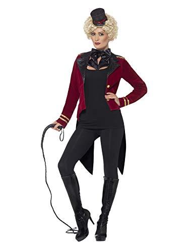 Halloween! Smiffys Zirkusdirektor Kostüm, Rot, mit Jacke, Kragen & Mini-Zylinder