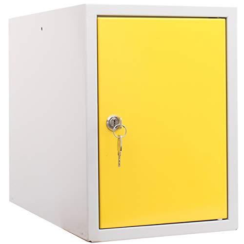 newpo cubo de casillero | 35 x 25 x 45 cm | Amarillo | Guardarropa Casillero Armario de casilleros cubo de taquilla Casillero de objetos de valor caja cerrada