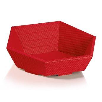 10 cestini per regali Swing, rossi, in cartone ondulato, esagonali. Dimensioni: mini