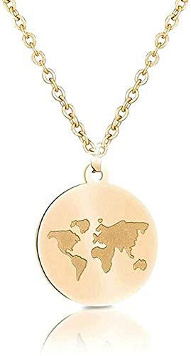 BACKZY MXJP Halskette Edelstahl Ketten Frauen Weltkarte Bee Mountain Halskette Anhänger Für Frauen Mädchen Traveller Geschenke Femme
