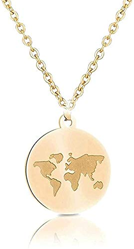 BACKZY MXJP Collar Cadenas De Acero Inoxidable Mujeres Mapa del Mundo Bee Mountain Collar Colgantes para Mujeres Niñas Regalos De Viajero Femme