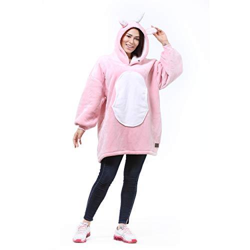 Catalonia Unicorn Übergroßes Sherpa Hoodie-Decken-Sweatshirt, Superweicher, Warmer, bequemer, süßer Riesenpullover mit großer Fronttasche für Frauen, Jungen, Mädchen, Teenager, Kinder, Geschenkidee
