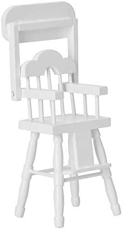 Zerone Doll House Chair Miniature Wood White 1 12 Dollhouse High Chair Model Furniture Accessories product image
