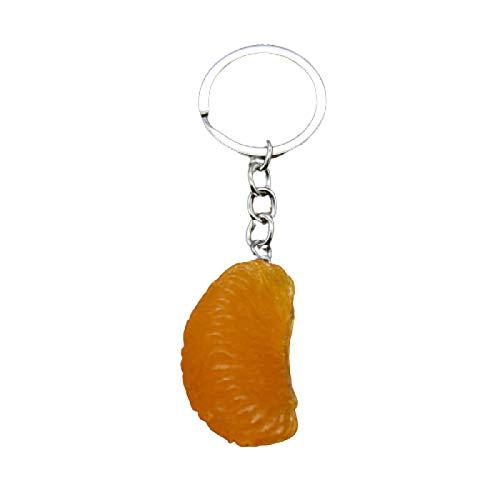 WWWL Llavero naranja 3D, moda verano frutas llavero accesorios plata