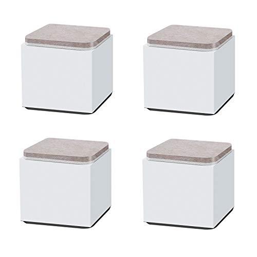 LEZED Pies de Acero al Carbono para Muebles Elevadores de Muebles de Patas Antideslizantes para el Hogar Oficina Sofá Silla Mesa Silla Cuadrado Blanco 60x52mm 4 Piezas