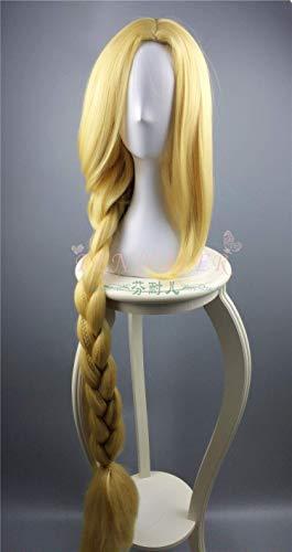 Wirren Cosplay Perücke Prinzessin Rapunzel Lange Zöpfe Künstliche Blumen Headwear Frauen Blond Synthetisches Haar Erwachsene