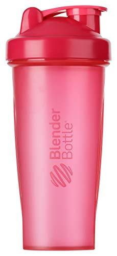 BlenderBottle Classic Botella de agua   Botella mezcladora de batidos de proteínas   con batidor Blenderball   libre de BPA   820ml - Pink