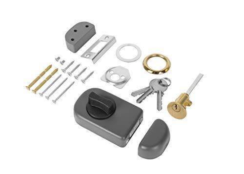 ADGO Ergo Oberflächenmontiertes Türschloss Zusatzschloss mit Knopf, Rundem Einsatz und 3 Schlüsseln, Stahlmechanismus, 4 Farben, Außenzylinder, Kastenschloss, Türzusatzschloss (50 mm, Graphit)