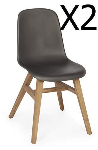 PEGANE Lot de 2 chaises Coloris Anthracite Mat - Dim : L 46 x P 60 x H 85 cm