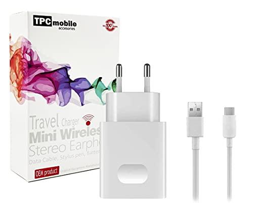 Cargador de Red Carga Rápida 18W + Cable USB Tipo C para Huawei P Smart Pro, P Smart S, Y8p, Y9s, Enjoy 10s, P9, P9 Lite, P10, Y8p