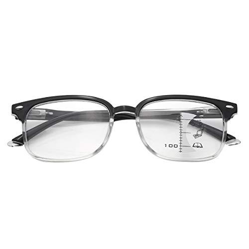 Yeahdor Progressive Lesebrille Multifocus Lesehilfe Brille Computer Arbeitsbrille Rechteck für Lesen Arbeiten Multifocus Schwarz &Klar+100 One Size