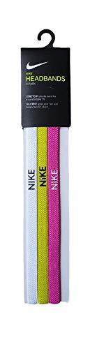 Nike Paquete de 3 diademas, color blanco, lima/rosa