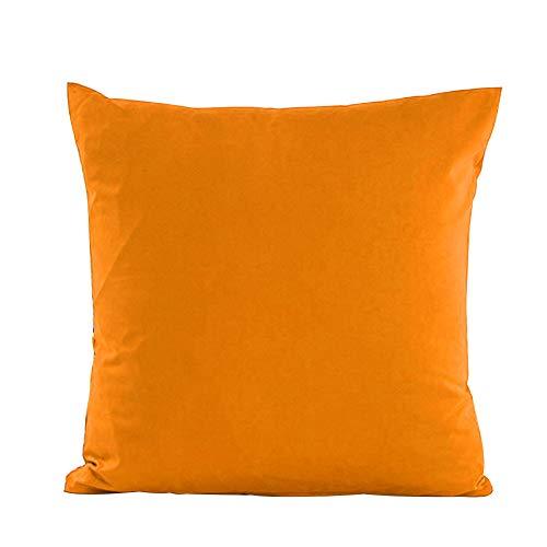 Alimagic Almohada de Color Liso, Funda de Almohada para sofá o Coche, diseño Cuadrado, Fundas De Cojines Algodón de Decoración para Hogar de Almohada Color Sólido (Naranja-55 * 55 cm)