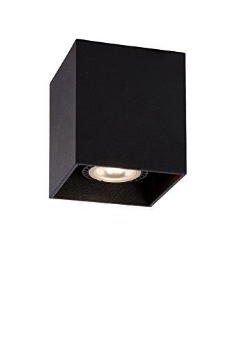 Lucide 09101/01/30 Bodi - Lámpara de techo cuadrada (GU 10, 8 x 9,5 cm), color negro