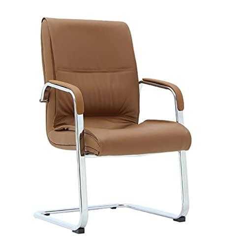 bjyx Silla plegable de doble tabla, gruesa silla de oficina de piel sintética con sensación de ordenador, patas arqueadas, esponja nativa, silla de conferencia, camping, color marrón