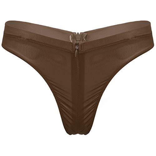 dPois Damen Sexy Slip Tanga Ouvert Hipster Panty Durchsichtige Unterhose Erotik Unterwäsche mit Zipper Low Rise Stretch Nachtwäsche Taillenslips Braun OneSize