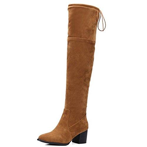 Smilice Damen über Kniehohe Stiefel mit Blockabsatz Langschaft Stiefel (Apricot, 45 EU)
