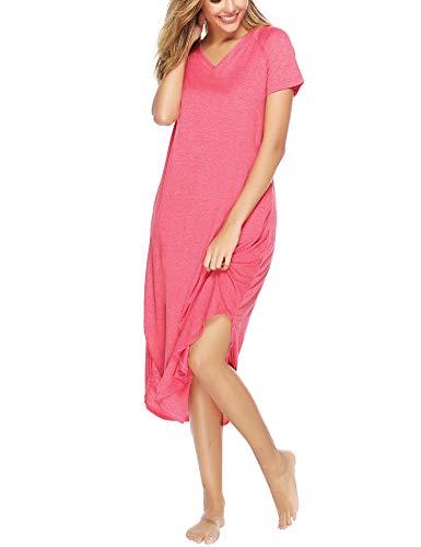 Aibrou Damen Einfarbige Nachthemd V-Ausschnitt Kurzarm Lange Nachtkleid Rot M