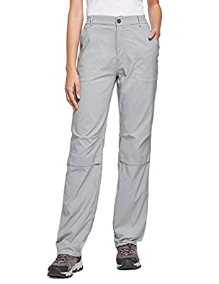 BALEAF Women's Lightweight Hiking Pants Convertible Roll Up UPF 50 Stretch Outdoor Capri Pants Water Resistant Gray M