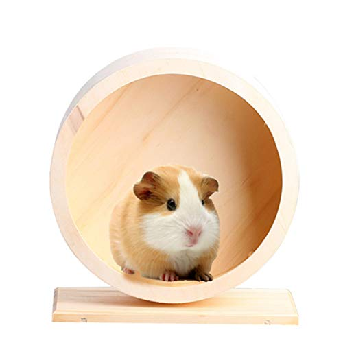 Ksruee Wooden Exercise Wheel Mute Hamster Running Wheel Eco-Friendly Pet Toy Wheel for Hamster Mice Gerbil Small Animals