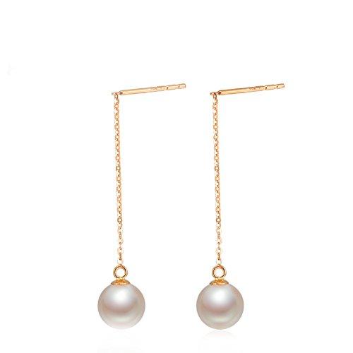 Aooaz Ohrringe Damen 18 Karat Gelbgold Ohrhänger Gold Runde Perle Weiß Breite 7.5-8MM Durchzieher Verlobung