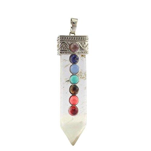 Colgante de curación con cristal de cuarzo natural y piedras preciosas en forma de espada, para regalo, claro