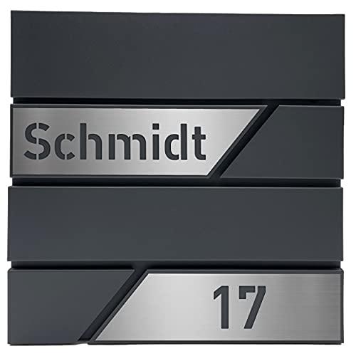 AlbersDesign - Personalisierter Design Briefkasten individuell mit Name / Anthrazit ähnlich RAL7016 - mit individuellen Edelstahl-Schildern