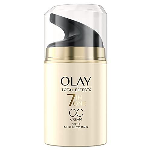 OLAY Total Effects 7-in-1 CC Feuchtigkeitscreme mit LSF 15,mittlere bis dunkle Hauttypen,50ml,Sofortige,gleichmäßige Deckkraft, Tagescreme mit Vitamin E,B3&B5 für...