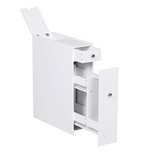 HOMCOM Bathroom Floor Organizer Wooden Free Standing Space Saving Narrow Storage Cabinet Bath Toilet Paper Holder with Drawers White