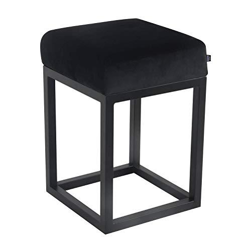 Damiware Brucy - Sgabello basso con altezza di seduta 50 cm, per il trucco, decorativo, multifunzione, industriale, vintage (velluto nero)