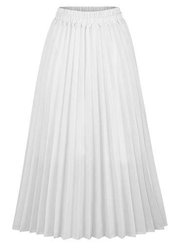 CHARTOU Womens Chic Elastic High Waisted A Line Leopard Print Pleated Shirring Midi-Long Skirt (White, XX-Large)