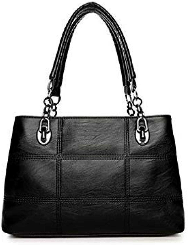 Bloomerang Big Women Bags Handbags Women Famous Designer Plaid Women Leather Handbags 2017 Luxury Ladies Hand Bags Shoulder Fashion Sac color Black Size big33x22x12cm