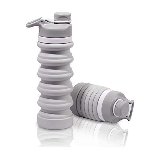 JIAYEE Botellas de Agua de Silicona Plegables,BPA Liberan la Botella Plegable de los Deportes del Silicón para Viajes,Camping,Senderismo (Gris)