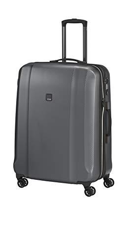 Titan Xenon Deluxe M+ inkl. kleine Kulturtasche mittlerer Reisekoffer 4 Doppelrollen Trolley Hartschale Gr. M+ Erweiterbar (71 x 52 x 30/34 cm) (Graphit)