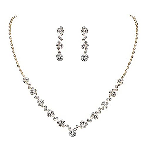 Yean Bride Silver Bridal Necklace Earrings Set Crystal Wedding Jewelry Set Rhinestone Choker Necklace for Women and Girls (Silver) (Gold)