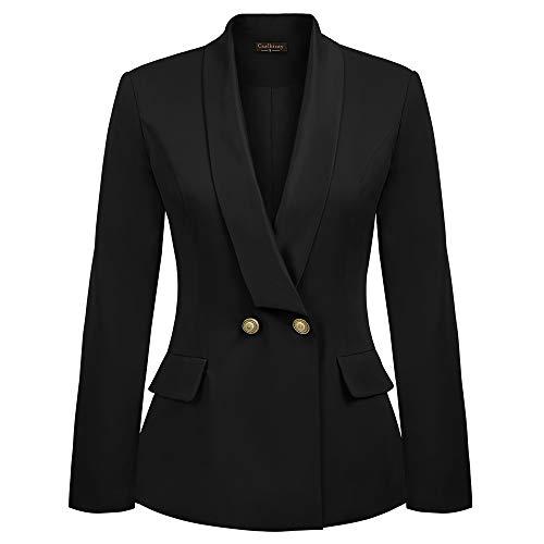 Curlbiuty Dames formele pak lange mouwen sjaalkraag V-hals schouderkussen kantoor blazer jas pak
