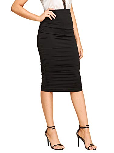 SheIn Women's Solid High Waist Ruched Frill Bodycon Stretch Ruffle Midi Pencil Skirt Black Small