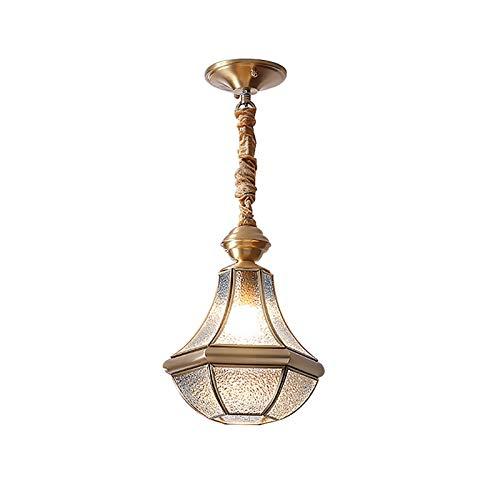 Lámpara de latón nórdicas, led clásico Luz pequeña colgante con sombra de glaseado, lámpara colgante de cadena colgante ajustable creativa para sala de estudio Sala de estar Aisle, blanco cálido