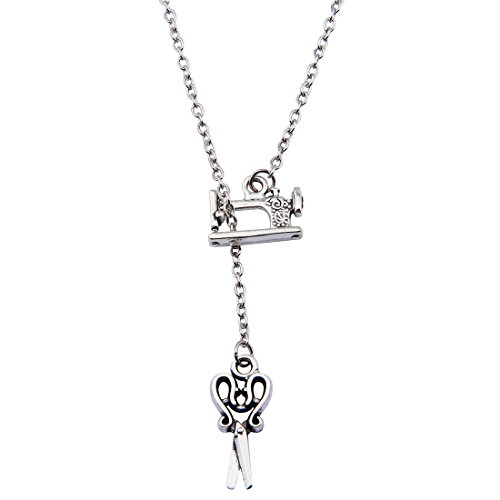 SEIRAA Sewing Machine and Scissors Pendant Necklace Vintage Style Hairdresser Necklace Gift for Barber (Y-Necklace)