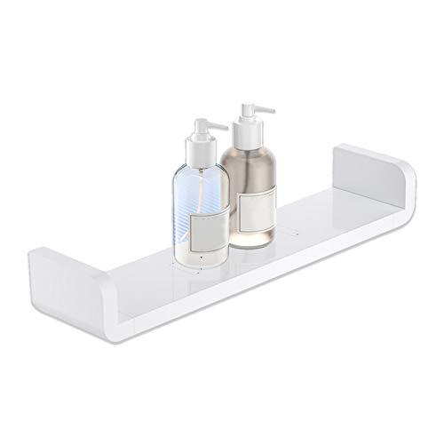 KUNGYO Weißem Kunststoff Wandmontiertes Badezimmer-Wandregal, Saug Rustikale U-Förmige Schwebende Regale Badezimmer-Organisator Dusche Caddie (Mitte)