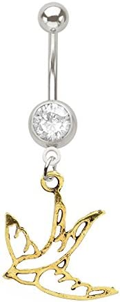 Swallow bird symbol of peace dove dangle Gold tone brass Belly button navel Ring piercing bar body jewelry 14g