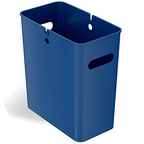 iTouchless SlimGiant 4.2 Gallon Slim Trash Can with Handles, 16 Liter Plastic Small Wastebasket Hanging Garbage Bin, Magazine / File Folder Storage Container for Home, Office, Bathroom, Kitchen, Blue