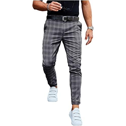 Pantalones Casuales Moda Hombre de Peso Medio de Negocios Slim Fit Plaid Print Pantalones Largos Pantalones (Color : Dark Gray, Size : L)