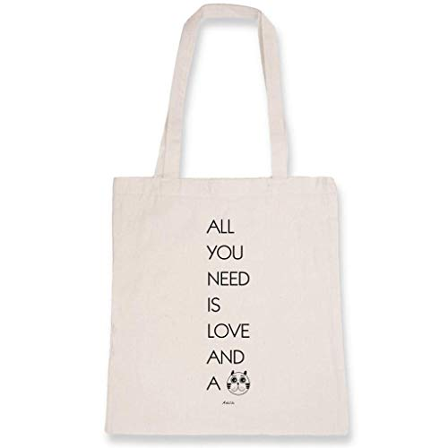 ArteCita Tote Bag bedruckt Ecru – Leinwand aus Bio-Baumwolle – All you need is Love and a Chat