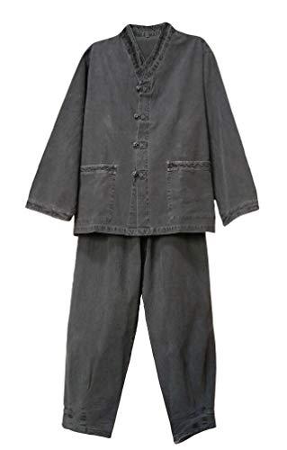 Altair Men Women 100% Cotton V-Neck Shirt Pants Set Buddhist Zen Meditating Clothing BTS_Jungkook Modern Style Hanbok in The Airport (Gray, L)