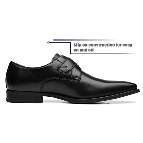 La Milano Mens Plain Toe Single Monk Strap Slip on Loafers Leather Oxford Modern Formal Business Dress Shoes