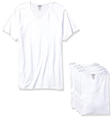 IZOD Men's 5 Pack V-Neck Tee, White/White/White/White/White, S